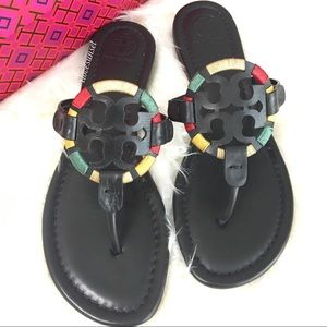 Tory Burch Shoes - {Tory Burch} Black Embroidered Miller Sandals